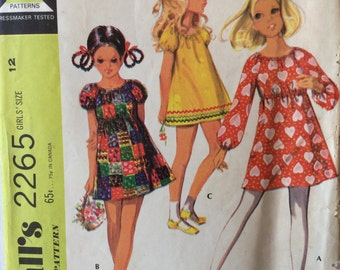 McCall's 2265 vintage 1970's girls peasant dress sewing pattern size 12