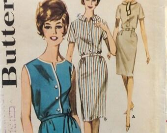 Butterick 2661 vintage 1960's misses dress w/slim skirt sewing pattern size 12 bust 32