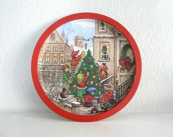 Christmas Tray with Wim Schimmer Children Decorating a Christmas Tree in the City Design