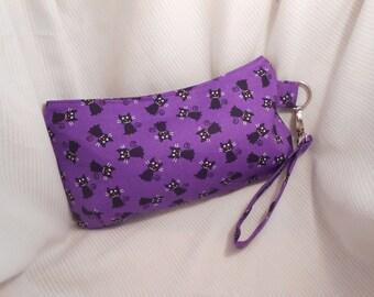 Black Cat Halloween Wristlet, Cat Purse, Halloween Bag, Costume Accessory, Halloween Handbag, Zippered Purse, Gift for Cat Lover, Coraline
