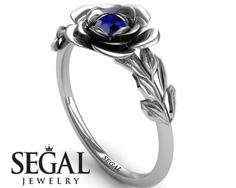 Blue Sapphire Ring White Gold Blue Sapphire Ring Solitaire Engagement Ring Unique Engagement Ring Rose Ring Blue Sapphire Ring - Adalyn