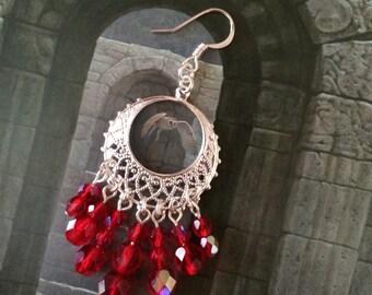 Czech glass in Siam Red earrings I
