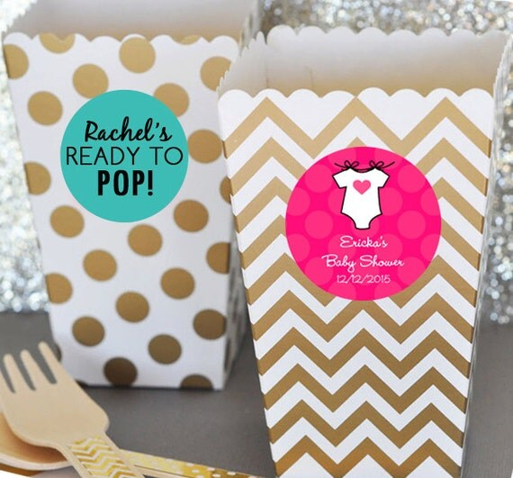 12 ready to pop baby shower popcorn box blush pink by eventdazzle for Ready to pop popcorn boxes