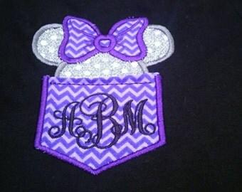 Girls Monogrammed Minnie Mouse Pocket Shirt, Minnie Ears/Head w/ Bow Applique Shirt. Kids Disney Shirt. Please specify colors