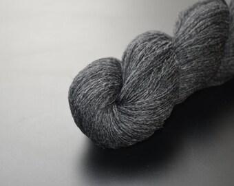100% baby yak lace yarn in dark heather grey