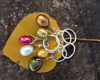 Fall Foliage Set of 6 freshwater pearl and sterling silver stitch markers for knitting,gift for knitter,knitting notions,clear top tin