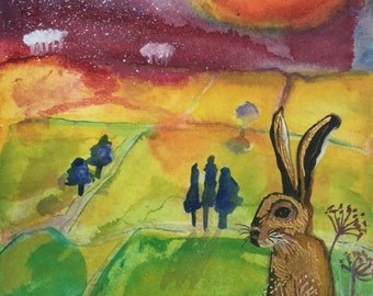 Golden Hare - greeting card - blank for your own message