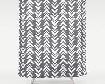 Gray shower curtain | Etsy