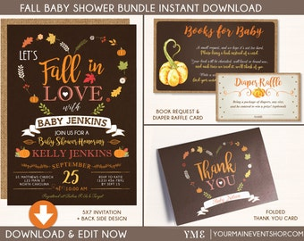 Fall Pumpkin Baby Shower Bundle • Invitation, Book Request Card, Diaper Raffle Card, Thank You Card • Instant Download Printable BS-F-02
