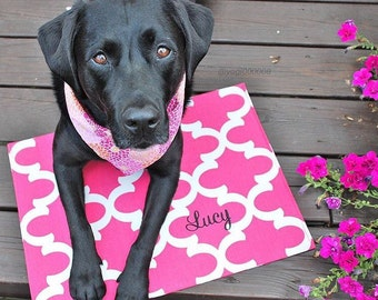 Personalized Puppy Dog Placemat || Pink QuatrefoilFood + Water Bowl Mat || Custom Pet Gift || Feeding Station by Three Spoiled Dogs