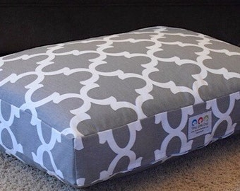 Fitz Dog Bed * Charlotte Quatrefoil Collection * Grey Storm * Custom * Small Medium * Personalize with Your Pups Name * Pillow