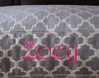 Personalized Dog Bed || Grey Quatrefoil Custom Dog Bed Cover || Gift for Pet Lover by Three Spoiled Dogs