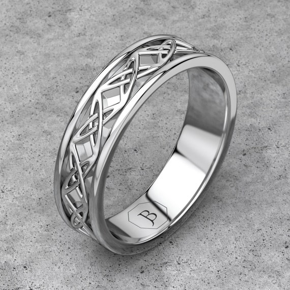 White Gold Celtic Endless Knot Wedding Band, Celtic Pattern Band, 14k White Gold Braided Ring, Promise Band, Commitment Band
