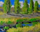 original 5x7 oil painting modern impressionist landscape,mniature art abstract art, American landscape,