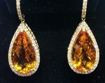 18K Citrine & Diamonds Earrings