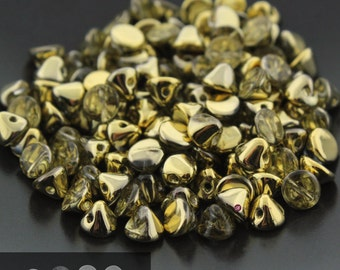 25pcs Czech Glass Button Beads Crystal AMBER - Drop Beads - 4mm [B60]