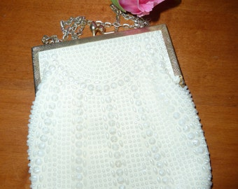 Beaded purse white formal