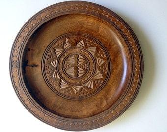 Vintage Carved Wooden Plates