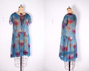 1920s Dress / 20s Flapper Dress / Art Deco Floral Print Flapper Dress