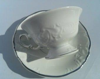 Vintage Wawel Polish China Tea Cup & Saucer Set. White and Silver Rims Minimalist Detailed Tea Set 1970's Bridal Gift.