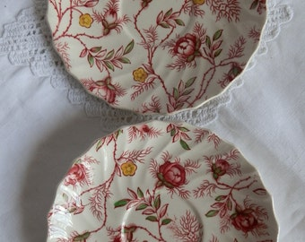 Pair of Vintage 1950's Copeland Spode Rosebud Chintz Saucers / Small Plates Made in England