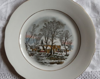 Vintage Avon Winter Scenic Plate Made in Germany Crown Bavaria