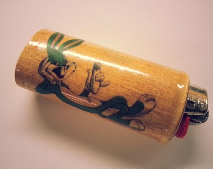 Green Bugs Bunny Joint BIC Lighter Case, Weed, Marijuana, Ganja, Pot, Holder, Sleeve, Cover