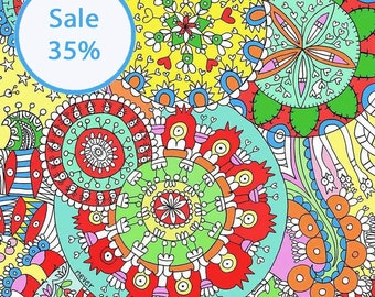 Mandala  Coloring Posters, Mandala Posters, Coloring Posters by Gula-On SALE!