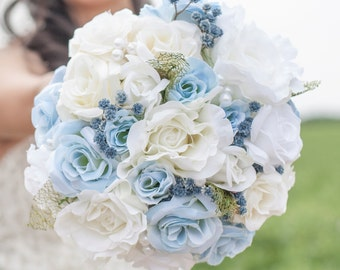 Wedding Bouquet, Silk, Bridal Bouquet, Blue and White, Roses, Handmade Bouquet,