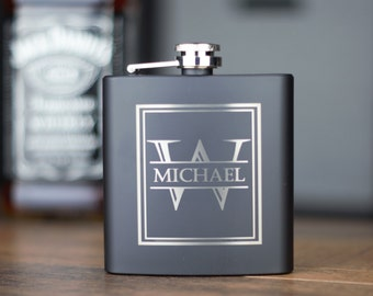 Matte Black Flask- Stainless Steel Flask- Personalized Flask- Groomsman Flask- Engraved Flask- Groomsmen Gift- Custom flask- Hip flask- 6oz.