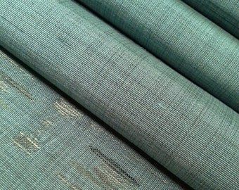 Vintage pine green gray tsumugi kimono silk - by the yard