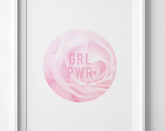 Grl Pwr print, girl power wall art, flower printable art, flower girl gift, girl power print, digital wall art print, flower poster decor