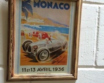 Monaco 1936 Grand Prix vintage framed racing car print