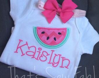 Watermelon Girls Baby Ruffle Shirt Onesie