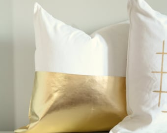 Colorblock Gold Pillow Cover, Metallic Gold Cushion Cover, Gold Throw Pillow, Accent Pillow, Couch, Gold Decor, Metallic Cushion, Shiny Gold