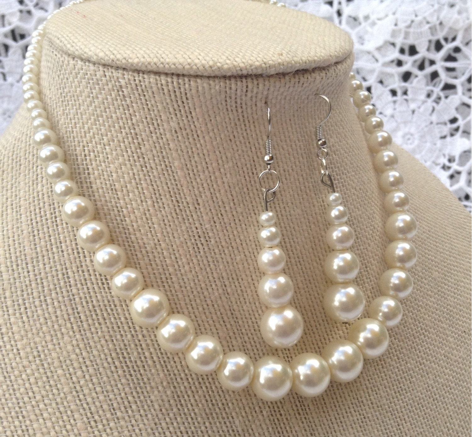 Ivory Wedding Jewelry Ecru Bead Necklace Stocking Stuffer