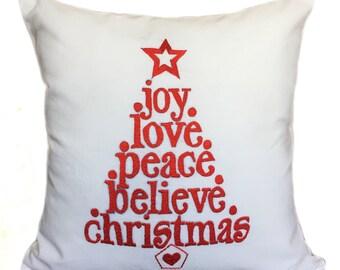 Christmas Pillow Cover Joy Love Peace Believe Christmas Quote Pillow Cover Christmas Quote Pillow Christmas Throw Pillows Christmas Décor