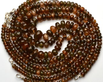 Super Rare Gemstone Andalusite Faceted 5 to 8MM Rondelle Beads 17 Inch Full Strand AAA Super Quality Necklace Mined in Andalusia Spain