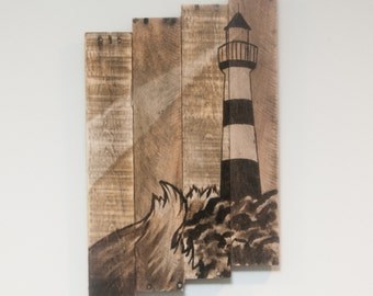 Lighthouse decor Lighthouse painting Lighthouse wall art Nautical wall art Nautical decor Lake house art Beach home decor Ocean art Coastal