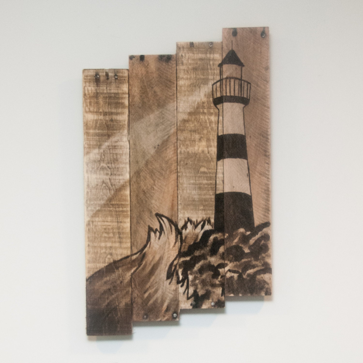 Lighthouse decor lighthouse painting lighthouse wall art for Wooden art home decorations