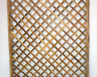 "Framed Bamboo Lattice Panel, diamond opening pattern. 48""W x 72""H, BWT-46D"