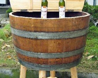 """Oak wine barrel cooler with lid, 26""""W x 26""""L x 17""""H, WBC-17 or WBC-17L"""