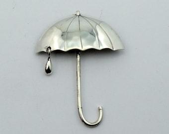 Rainy Days and Mondays Sterling Silver Umbrella Brooch  #UMBR-PN1