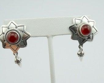 Signed Southwest Native American Sterling Silver Carnelian Cabochon Earrings