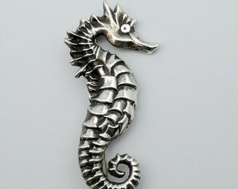 Vintage Seahorse Sterling Silver Brooch Pin  #SEAHRS-PN1