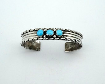Vintage Sterling Silver Turquoise Cabochon Cuff Bracelet #CFTQBR-CF4