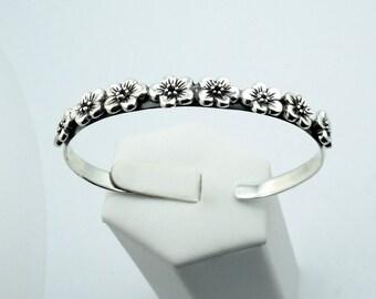 Lovely Daisy Sterling Silver Cuff Bracelet #DAISY-CF4