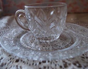 Crystal Clear Cup and Plate Set Of One