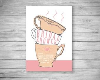 Tea Cup Bridal Shower Invitation - Set of 20 - Envelopes Included