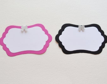 Candy Buffet Labels with Mini Bow Embellishment - Pink & Black Party - Teen Party Decor - Bachelorette Party Labels -  Set of 10 - Hootsie